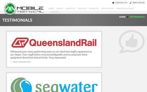 Screenshot of Testimonials Page mobiletestncal.com.au - Testimonials | Mobile Test 'n' Cal - captured June 12, 2017