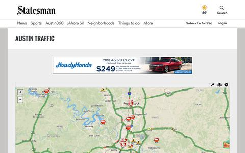 Screenshot of Maps & Directions Page statesman.com - Austin TX Traffic Map - Live local traffic conditions - captured Sept. 21, 2018