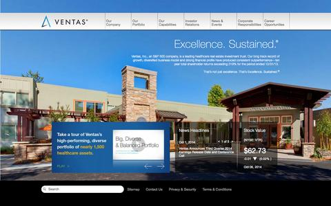 Screenshot of Home Page ventasreit.com - Welcome | ventasreit - captured Oct. 6, 2014