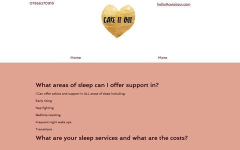 Screenshot of FAQ Page careitout.com - Kerry Cares Parenting Gentle sleep consultant - captured Feb. 1, 2018