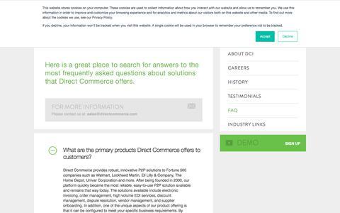 Screenshot of FAQ Page directcommerce.com - FAQ | Direct Commerce - captured Aug. 7, 2018
