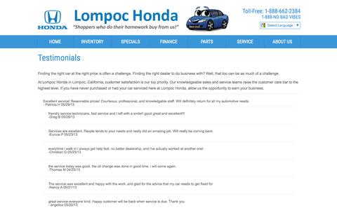 Screenshot of Testimonials Page lompochonda.com - Testimonials - captured July 25, 2015