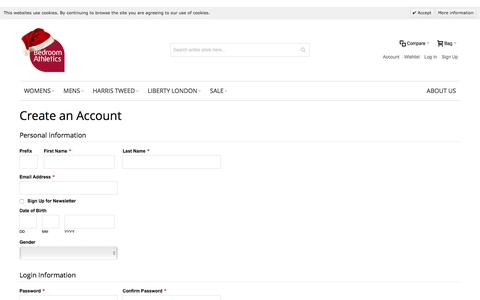 Screenshot of Signup Page bedroomathletics.com - Create New Customer Account - captured Dec. 31, 2015