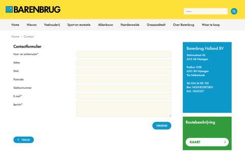 Screenshot of Contact Page barenbrug.nl - Contact - captured Nov. 22, 2016