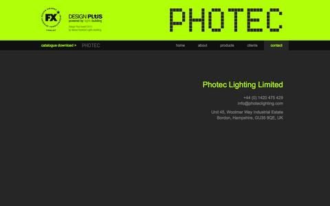 Screenshot of Contact Page photeclighting.com - Photec Lighting - Contact : Photec Lighting - captured Dec. 9, 2015