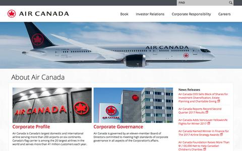 Screenshot of About Page aircanada.com - Air Canada - About Air Canada - captured Aug. 8, 2017