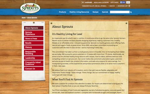 Screenshot of About Page sprouts.com - About Sprouts - Sprouts Farmers Market - captured Sept. 18, 2014