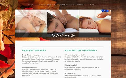 Screenshot of Services Page purewellnesscompany.com - services - Massage, Acupuncture, Natural Medicine - captured Sept. 30, 2014
