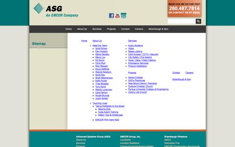 Screenshot of Site Map Page advsysgrp.com - Advanced Systems Group (ASG) :: Sitemap - captured Oct. 7, 2017