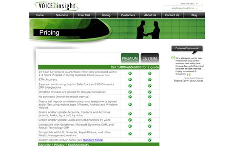 Screenshot of Pricing Page voice2insight.com - Voice2insight Pricing for CRM Integration - captured Jan. 11, 2016