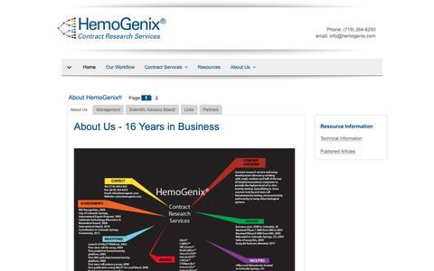 Screenshot of About Page hemogenix.com captured Sept. 28, 2018
