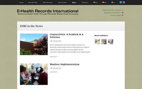 Screenshot of Press Page ehrinternational.com - E-Health Records International | E-Health Records International - captured July 19, 2014