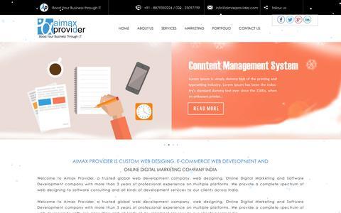 Screenshot of Home Page Menu Page aimaxprovider.com - E-commerce Website Designing Development Company in Mumbai, India - captured Feb. 5, 2016