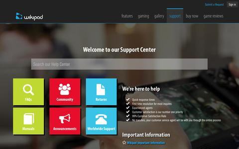 Screenshot of Support Page wikipad.com - Support Center - captured Nov. 2, 2014