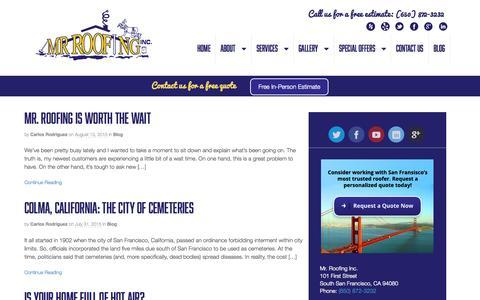 Screenshot of Blog mrroofing.net - Blog - Mr. Roofing - captured Aug. 17, 2015