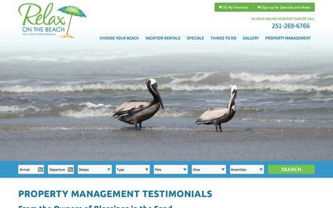 Screenshot of Testimonials Page relaxonthebeach.com - Property Management Testimonials | Relax On The Beach - captured Feb. 25, 2016