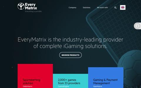 Screenshot of Home Page everymatrix.com - EveryMatrix - Everything is possible. - captured Sept. 10, 2015