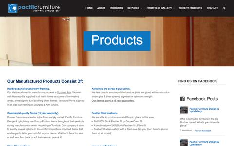 Screenshot of Products Page pacificfurnituredesign.com.au - Products | Pacific Furniture Design & Upholstery - captured Oct. 1, 2014