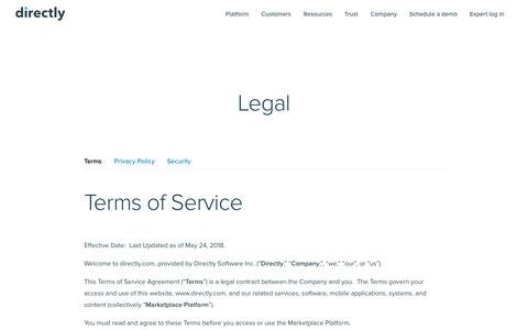Screenshot of Terms Page directly.com - Terms | Directly - captured July 10, 2018