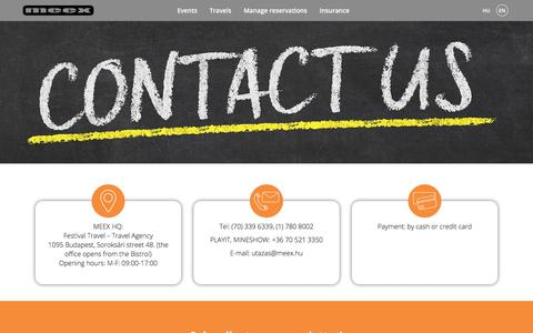 Screenshot of Contact Page meex.hu - Contact | MEEX - captured Sept. 23, 2018