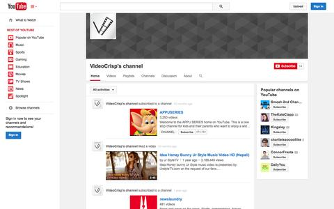 Screenshot of YouTube Page youtube.com - VideoCrisp's channel  - YouTube - captured Oct. 30, 2014
