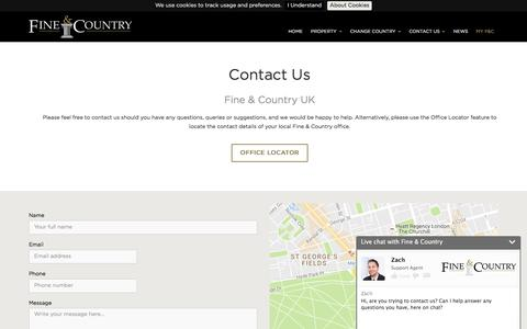 Screenshot of Contact Page fineandcountry.com - Contact Us - captured Nov. 18, 2016