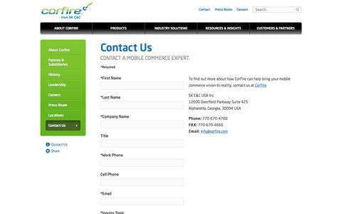 Screenshot of Contact Page corfire.com - Mobile Commerce Companies | CorFire - captured Oct. 3, 2014