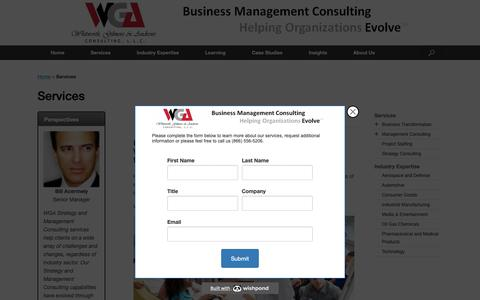 Screenshot of Services Page wgaconsulting.com - Services - Strategy Consulting | WGA Consulting, LLC - captured Oct. 18, 2018