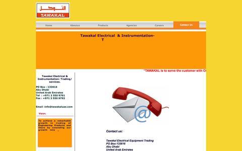 Screenshot of Contact Page tawakaluae.com - Tawakal  Electrical Equipment Trading - captured Oct. 26, 2014