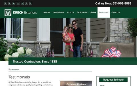 Screenshot of Testimonials Page krechexteriors.com - Testimonials - Krech Exteriors - captured June 9, 2017