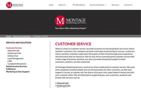 Screenshot of Support Page montagemarketingservices.com - Customer Service | Montage Marketing Services - captured Feb. 23, 2016