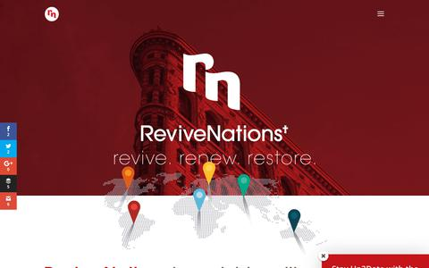Screenshot of Home Page revivenations.org - Home - Revive Nations - captured Sept. 23, 2018