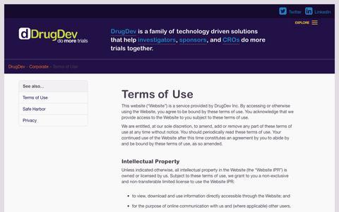 Screenshot of Terms Page drugdev.com - Terms of Use | DrugDev - captured Oct. 29, 2014