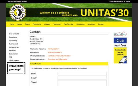 Screenshot of Contact Page unitas30.nl - Contact - Unitas'30 - voetbal - Etten-Leur - captured Feb. 2, 2016