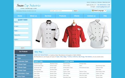 Screenshot of Site Map Page imamcap.com - Imam Cap Industries is Manufacturer and supplier of all kinds of promotional caps, Hats,Traveling Bags, Executive Bags, Backpack Bag, Leather Bag, School Bag, Laptop Bag, Round Neck T-shirt, Polo T-shirt, Promotional Umbrella, Folding Umbrella, Promo - captured Feb. 10, 2016