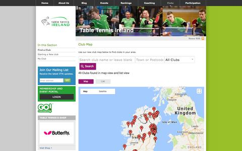 Screenshot of Maps & Directions Page irishtabletennis.com - Club Map - Table Tennis Ireland - captured Jan. 25, 2018