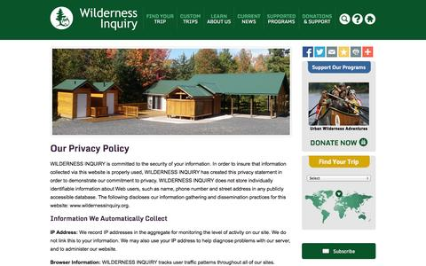 Screenshot of Privacy Page wildernessinquiry.org - Privacy Policy - Wilderness Inquiry - captured Oct. 7, 2014