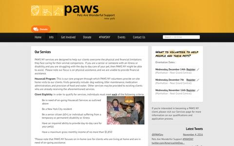 Screenshot of Services Page pawsny.org - Our Services - PAWS NY - captured Nov. 5, 2016