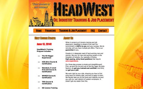 Screenshot of Home Page headwestoiljobs.com - Oil Industry Training & Job Placement - captured Oct. 2, 2014