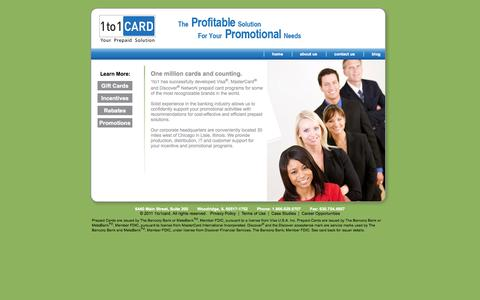 Screenshot of About Page 1to1card.com - Corporate Prepaid Cards | Employee Reward Cards - captured Oct. 27, 2014