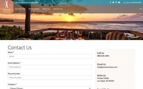 Screenshot of Contact Page exoticestates.com - Contact Us - Exotic Estates - captured Dec. 8, 2018