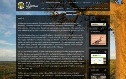 Screenshot of About Page tuliwildernesscamp.com - about us - captured Oct. 6, 2014