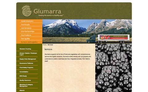 Screenshot of Services Page giumarra.com - Services - captured Sept. 19, 2014