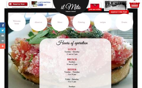 Screenshot of Hours Page ilmito.com - hours of operation : IL MITO Trattoria e Enoteca : Wauwatosa Wisconsin - captured Oct. 3, 2014