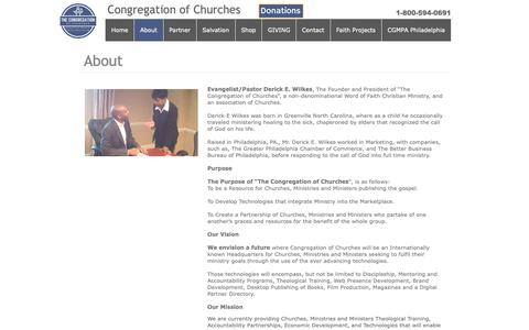 Screenshot of About Page congregationofchurches.org - About - captured Sept. 28, 2018