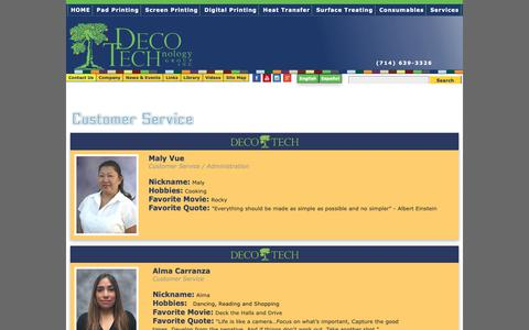 Screenshot of Support Page decotechgroup.com - Customer Service Staff Serving Your Decorating Needs at DECO TECH - captured Oct. 29, 2018