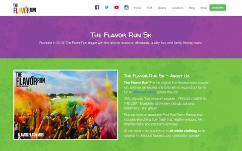 Screenshot of About Page flavorrun.com - The Flavor Run 5k - About Us Page - Flavor Color Run Theme - The fruit filled family 5k - captured Feb. 16, 2016