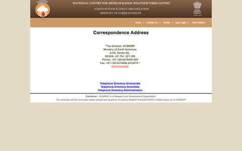 Screenshot of Contact Page ncmrwf.gov.in - National Centre for Medium Range Weather Forecasting (NCMRWF) - captured Oct. 7, 2014