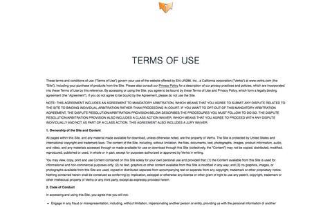 Screenshot of Terms Page vertra.com - Terms of Use - Vertra - captured Nov. 1, 2019