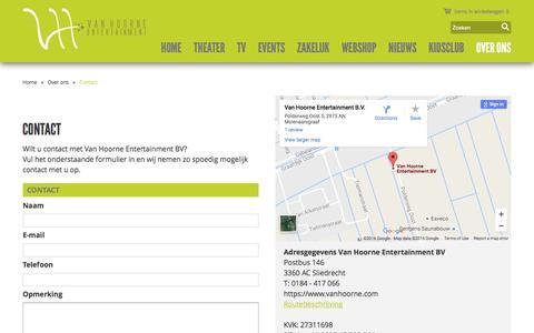 Screenshot of Contact Page vanhoorne.com - Contact - Van Hoorne Entertainment - captured Nov. 28, 2016
